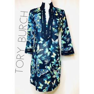 Tory Burch blue butterfly tunic dress 6 Small